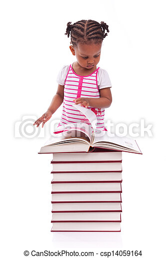 Cute black african american little girl reading a book, isolated on white background - African people - Children - csp14059164