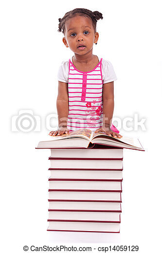 Cute black african american little girl reading a book, isolated on white background - African people - Children - csp14059129