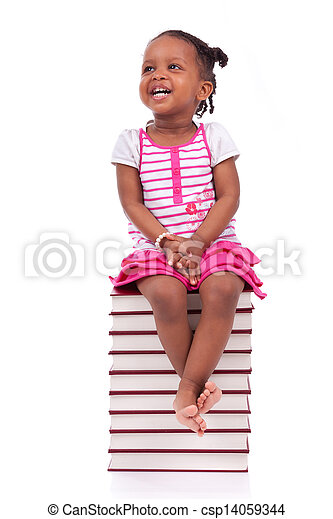 Cute black african american little girl seated in a stack of books, isolated on white background - African people - Children - csp14059344