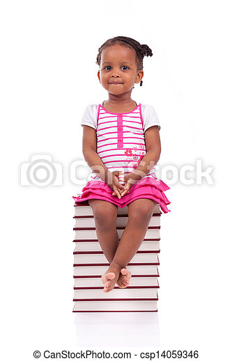 Cute black african american little girl seated in a stack of books, isolated on white background - African people - Children - csp14059346