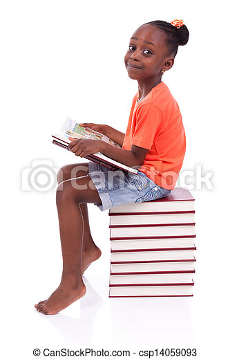 Cute black african american little girl reading a book, isolated on white background - African people - Children - csp14059093