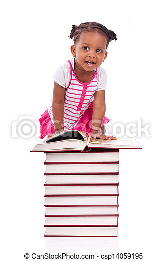 Cute black african american little girl reading a book, isolated on white background - African people - Children - csp14059195