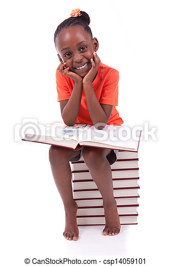 Cute black african american little girl reading a book, isolated on white background - African people - Children - csp14059101