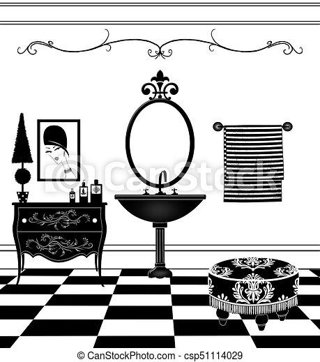 Cute Black And White Bathroom With Pedestal Sink Cute Drawing Of A