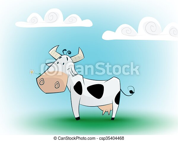 Cute black and white cow eating daisy. - csp35404468