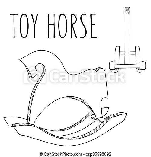 Cute black and white or coloring book horse toy. rocking hourse ...