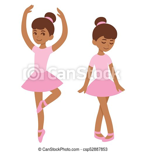 Cute Black Ballerina Cute Cartoon Black Ballerina Girl In Pink Dress African American Kid Dancing Ballet Vector Clip Art