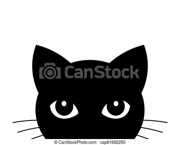 Cat Attack Cute Black Cat Face Vector Illustration