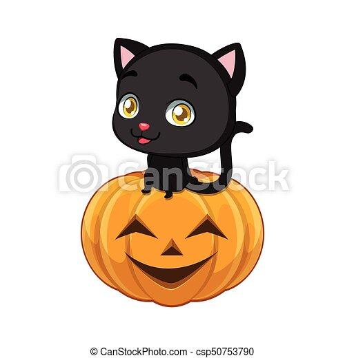 Cute Black Cat Sitting Comfortably On A Halloween Pumpkin   Csp50753790