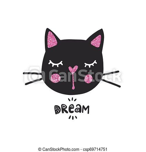 Cute Black Cat Vector Illustration Girly Kittens Fashion Cat S Face Cartoon Animal Kitty Baby Girl Funny Character