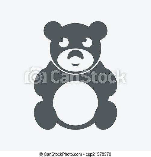Cute black teddy bear icon on white background - csp21578370