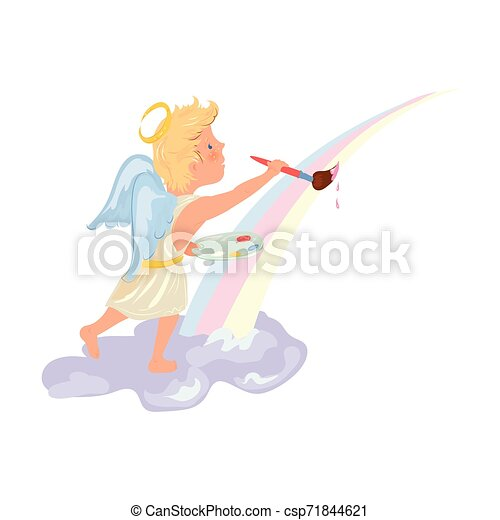 Cute blonde hair angel boy painting rainbow - csp71844621