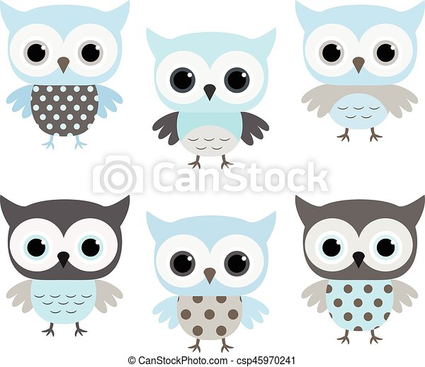 Cute blue and grey vector owls set for baby showers birthdays cute blue and grey vector owls set for baby showers birthdays invites greeting cards and nursery stopboris Choice Image