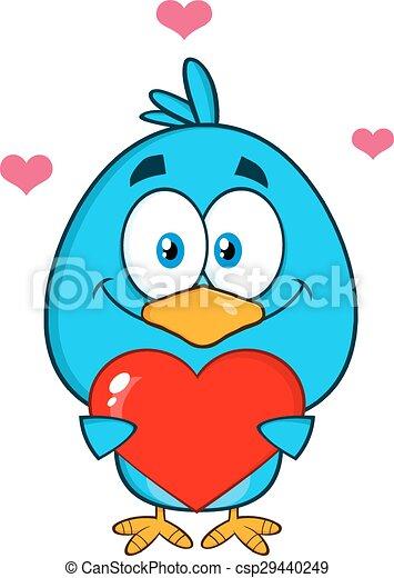 Cute Blue Bird Holding A Love Heart - csp29440249