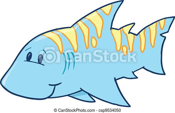 Cute Blue Shark Vector Illustration - csp9534050