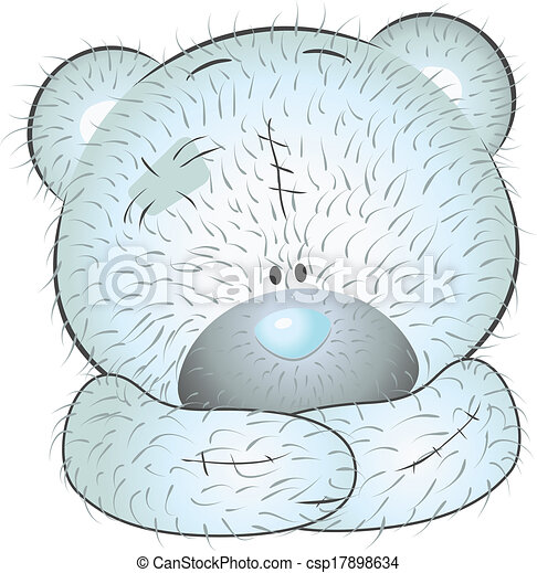Cute blue teddy bear - csp17898634