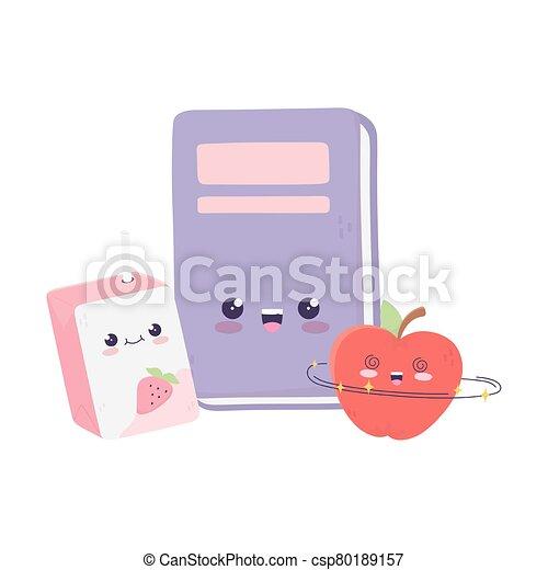 cute book apple and box juice kawaii cartoon character - csp80189157
