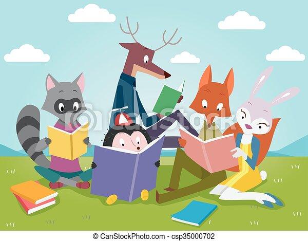 Cute Books Animals Reading  - csp35000702