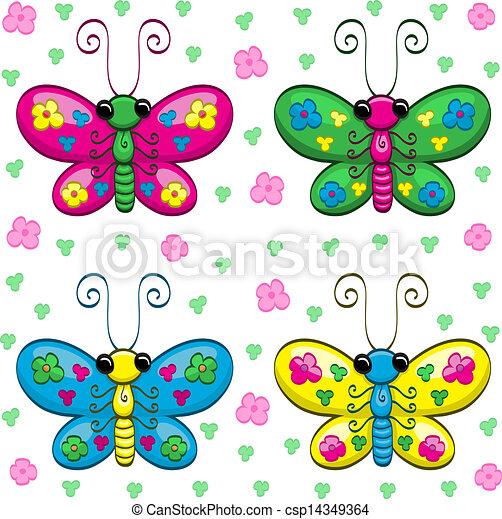 cute, borboletas, caricatura - csp14349364