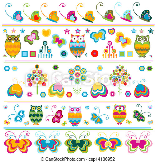 cute borders with colorful elements - csp14136952