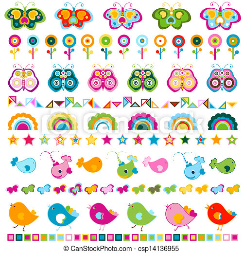 cute borders with colorful elements birds butterflies flowers etc