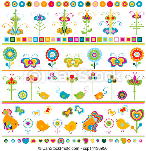 Cute Borders With Colorful Elements