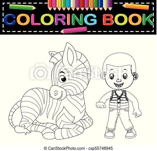 cute boy and zebra coloring book