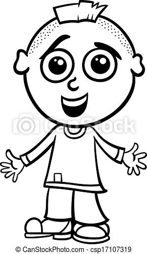 Cute Boy Cartoon Coloring Page