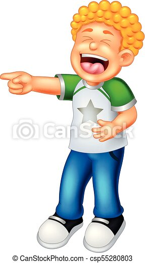 cute boy cartoon standing with pointing and laughing - csp55280803