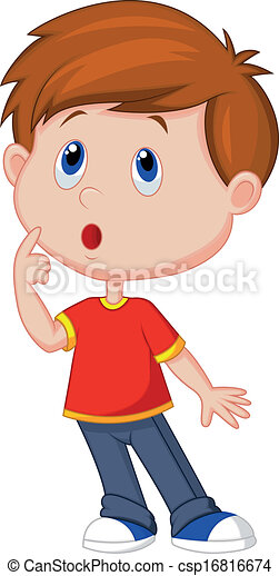 Cute Boy Cartoon Thinking Vector