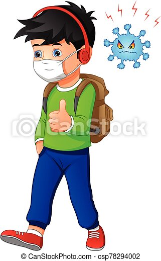 Vector Illustration Of Cute Boy Cartoon Wearing Breath Mask For Virus Protect Canstock