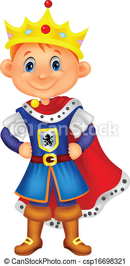 Cute boy cartoon with king costume  - csp16698321