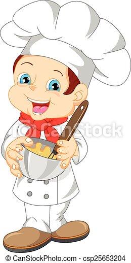 cute boy chef cartoon - csp25653204