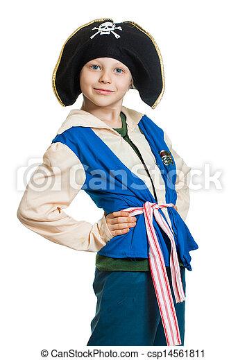 Cute boy dressed as pirate - csp14561811