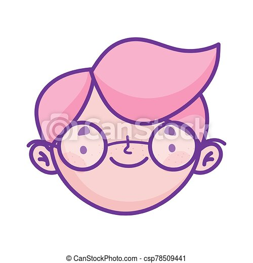 cute boy face with glasses cartoon character icon - csp78509441