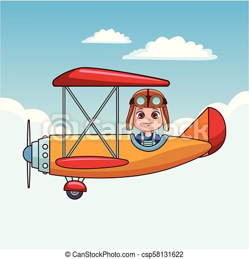 Cute Boy Flying Vintage Airplane Cartoon Vector Illustration