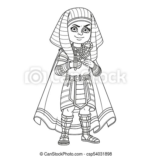 Cute Boy In Egyptian Pharaoh Costume Outlined For Coloring Page