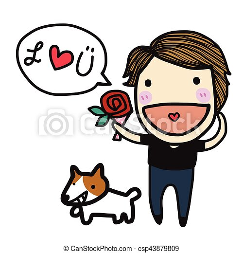 cute boy in love say i love you cartoon illustration vector clipart rh canstockphoto com I Love You This Much Clip Art I Love You Funny Clip Art