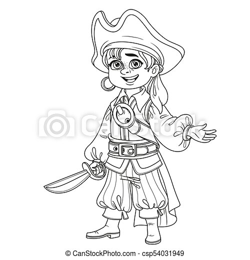 Cute Boy In Pirate Costume Outlined For Coloring Page