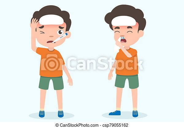 Cute boy kids having flu and fever symptoms vector. health and medical vector illustration on isolated. - csp79055162