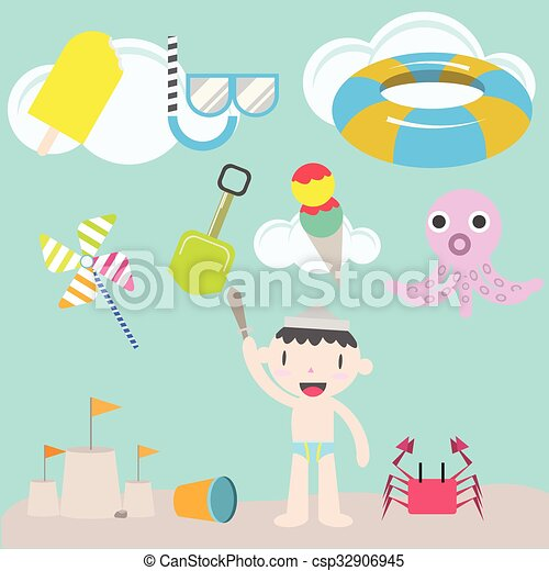 cute boy on the beach - csp32906945