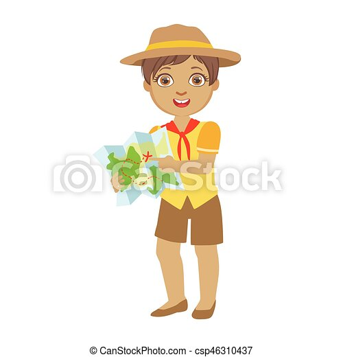 cute boy scout holding a tourist map a colorful character rh canstockphoto com boy scout clipart black and white boy scout rank clipart