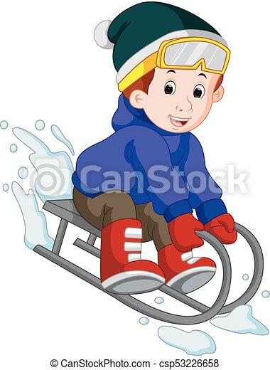 Illustration of cute boy sledding in snow.
