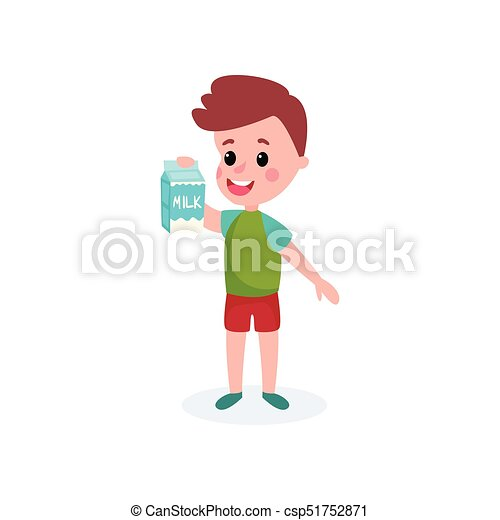 Cute boy with cardboard box of milk in his hands, healthy food for kid cartoon vector illustration - csp51752871