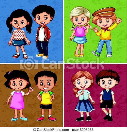 Royalty-Free (RF) Clipart Illustration of a Childs Sketch Of Four Girls  Holding Hands by Prawny #215648