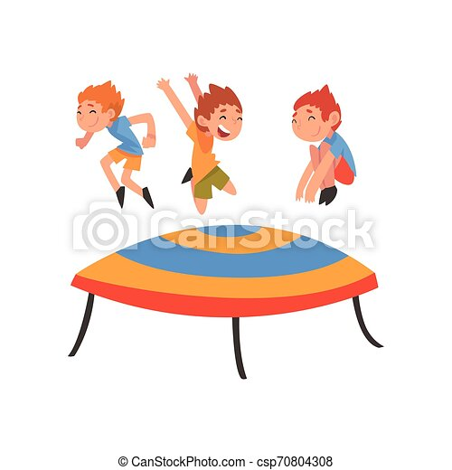 Cute Boys Jumping On Trampoline Happy Kids Bouncing And Having Fun Cartoon Vector Illustration On White Background