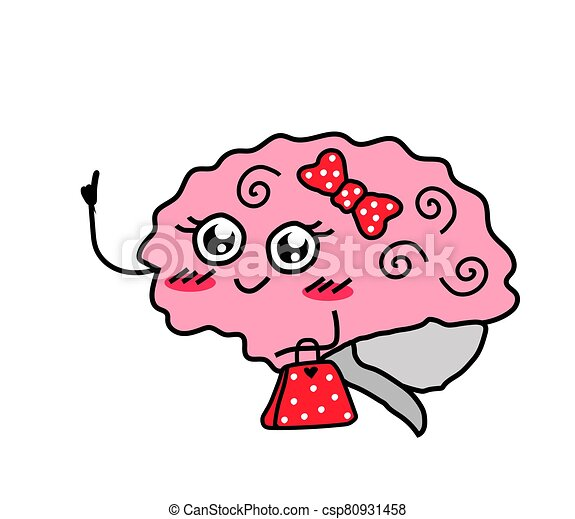 cute brain on a white background feminine thinking cartoon vector illustration can stock photo