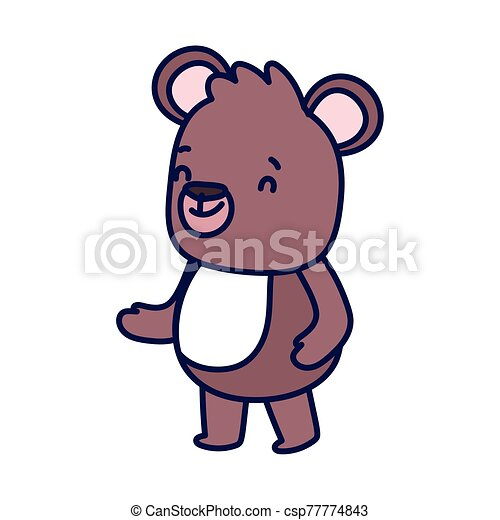cute brown bear cartoon character on white background - csp77774843