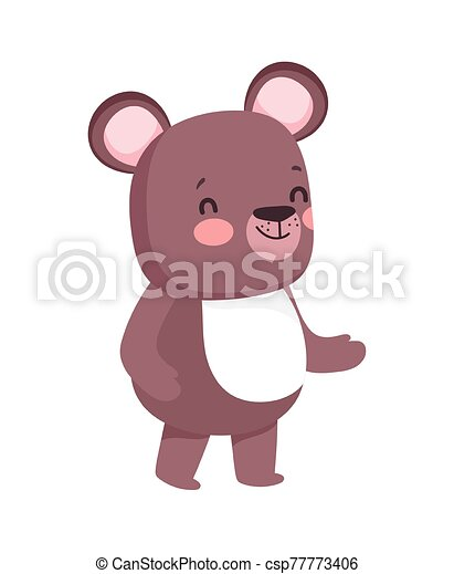 cute brown bear cartoon character on white background - csp77773406