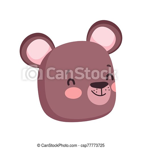 cute brown bear face cartoon character on white background - csp77773725